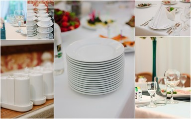Wedding catering collage - food and crockery for rehearsal dinner.
