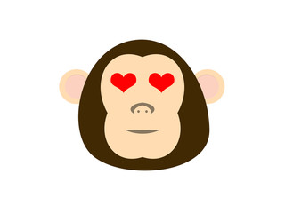 Monkey face with heart
