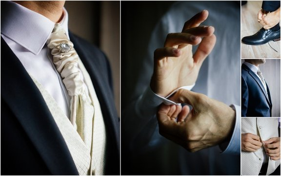 Men's wedding suit collage - elegant groom suits.