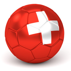 Soccer Ball With Swiss Flag 3D Render