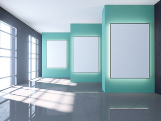 Bright room with empty poster. Gallery, exhibition, advertising concept. Mock up, 3D illustration