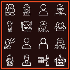 Set of 16 user outline icons