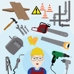 Caucasian female construction worker/handyman next to industrial tools. Vector illustration.