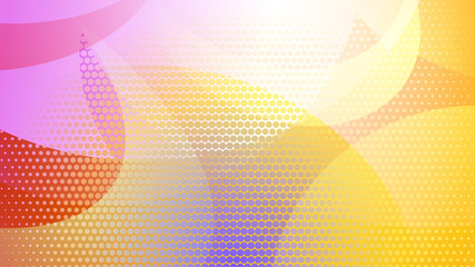 Abstract colored background of curved lines, curves and halftone dots