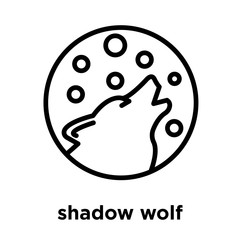 shadow wolf icon isolated on white background