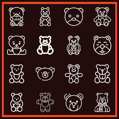 Set of 16 bear outline icons