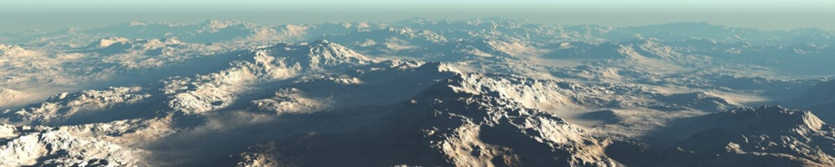 Mars from the height of the flight, a panorama of the surface of Mars, 3D rendering