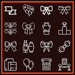 Set of 16 decoration outline icons