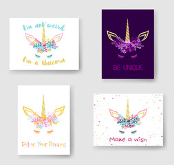 Unicorn horn in flowers and twigs wreath tiara illustration on cards set. Cute vector meme unicorn head with closed eyes, horn, flowers. Be unique, follow your dreams, make a wish quotes phrase text.
