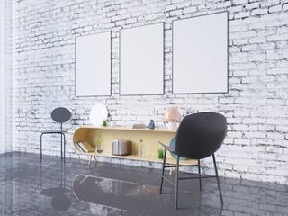 mock up poster frame in home office interior background, 3D render, 3D illustration