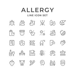 Set line icons of allergy