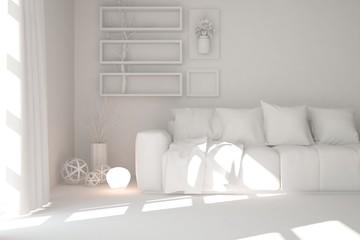 White room with grey sofa. Scandinavian interior design. 3D illustration