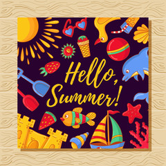 Hello summer card template with cute summer symbols doodle colorful toys