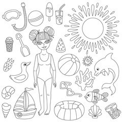 Summer beach icons line sea toys girl characters
