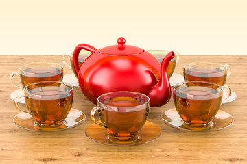 Cups of tea and teapot on the wooden table. 3D rendering