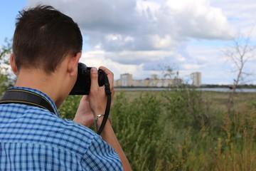 Photo Photographer outdoors
