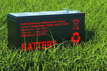 Sealed UPS battery on the green grass, 3d rendering