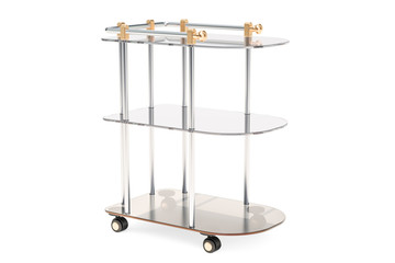 Serving cart, table from metal and glass. 3D rendering