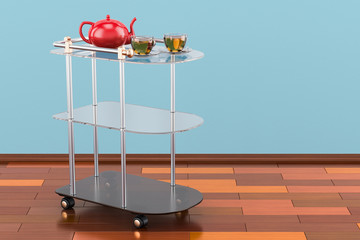 Serving cart with cups of tea and teapot. 3D rendering