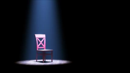 Roter Stuhl im Rampenlicht