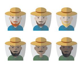 Set of six male avatar florist / beekeeper icons. Different skin tones models. Vector illustration.