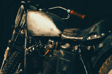 Close up of a custom dirt bike