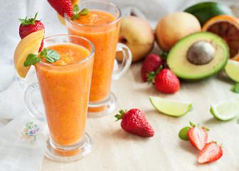 Fresh vitamins drink smoothie with ingredients