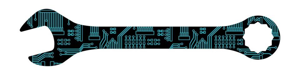 gz79 GrafikZeichnung - german: Ein digitaler Gabelschlüssel / Schraubenschlüssel - Vorausschauende Wartung - english: digital fork wrench / Maintenance 4.0 / Predictive Maintenance - banner 4to1 g6057