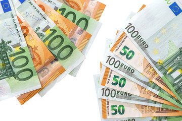50 and 100 euros are isolated on a white background