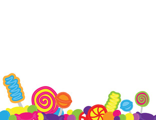 Hand drawn candies and sweets background