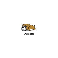 Lazy dog, cute boxer puppy sleeping icon, logo design, vector illustration
