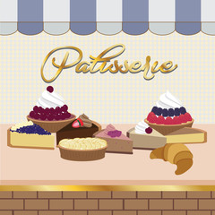 Colorful patisserie shop window with products inside. Vector illustration.