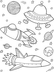 Poster Cartoon draw Rockets Spaceships Outer Space Vector Illustration Art