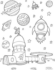 Foto auf Acrylglas Cartoon draw Moonbase Outer Space Rockets Illustration Art