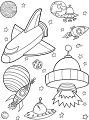 Stores à enrouleur Cartoon draw Cute Rocket shuttle Outer Space Vector Illustration art