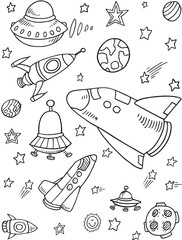 Cute Rockets Outer Space Vector Illustration Art