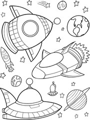 Stores à enrouleur Cartoon draw Cute Rockets Outer Space Vector Illustration Art