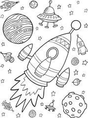 Spoed Foto op Canvas Cartoon draw Outer Space Rocket Planets Vector Illustration Set