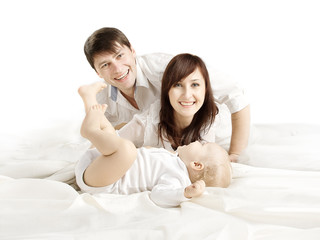 Family Portrait, Mother Father and Baby, Happy Parents with one year old Kid Son, People over White background