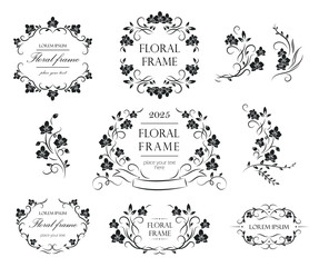 Set of floral frames and labels. Collection of original floral design elements. Vector calligraphy swirls, swashes, ornate motifs.