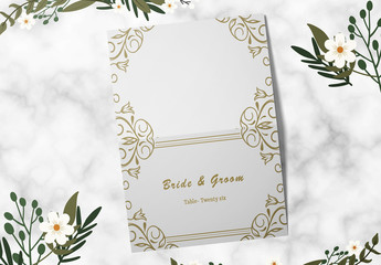Wedding Table Place Card Layout with Gold Accents