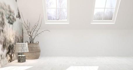 White empty room with decor. Scandinavian interior design. 3D illustration