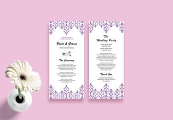 Wedding Program Layout with Purple Design Elements