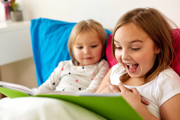 childhood, leisure and family concept - little girls or sisters reading book in bed