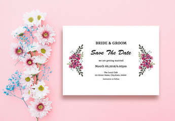 Wedding Save The Date Card Layout with Pink Flowers