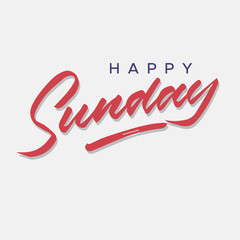 happy sunday vintage hand lettering typography greeting card