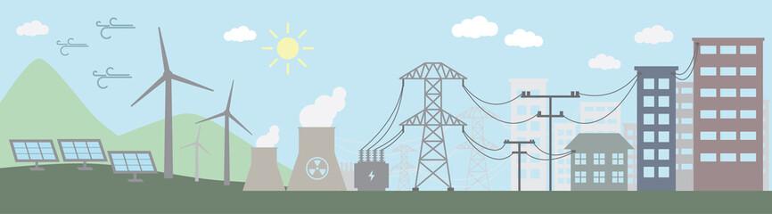 Colorful illustration of power distribution system. Vector illustration.