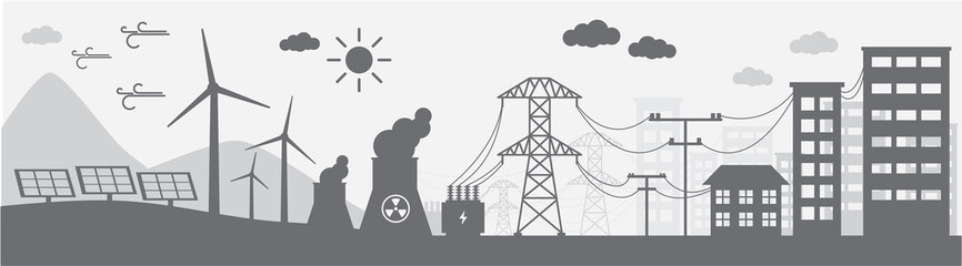 Monochrome illustration of power distribution system. Wall mural