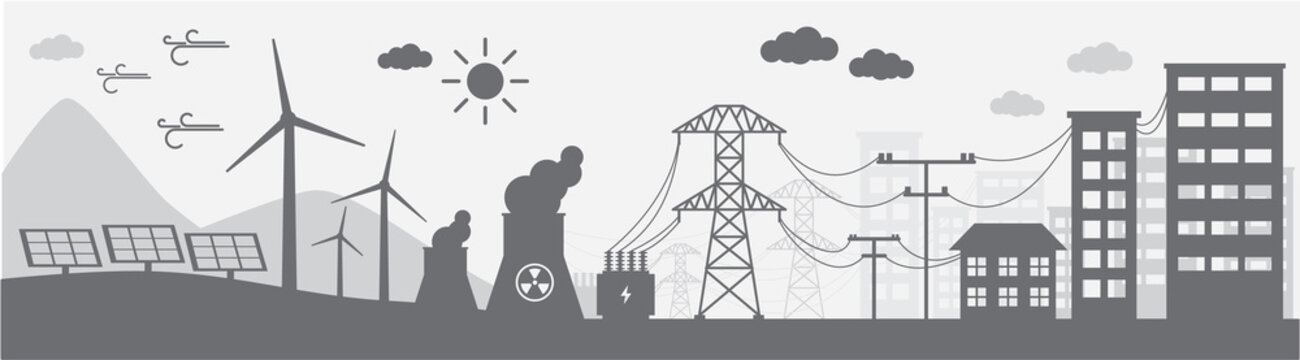 Monochrome illustration of power distribution system.
