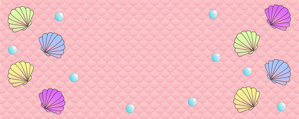 Clam shells and pearls on pink fish scale pattern background
